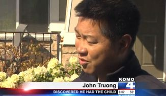 John Truong, of Renton, Washington, was shocked to learn upon reading an Amber Alert on Wednesday that the 2-year-old boy he and his wife were babysitting had been kidnapped. (KOMO News)