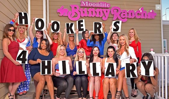 "Nevada sex workers at Dennis Hof's famous Moonlite Bunny Ranch have launched a ""Hookers for Hillary"" Clinton website that endorses the former secretary of state's campaign for president. (Hookers for Hillary)"