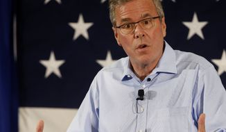 Former Florida Gov. Jeb Bush speaks at a Republican Leadership Summit in Nashua, N.H., April 17, 2015. (Associated Press) ** FILE **