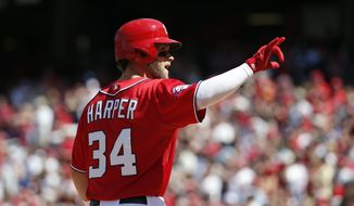 Washington Nationals' Bryce Harper celebrates as he crosses home plate after hitting a solo home run in the fifth inning of a baseball game against the Philadelphia Phillies at Nationals Park, Saturday, April 18, 2015, in Washington. (AP Photo/Alex Brandon)