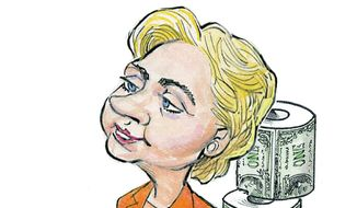 Illustration on Hillary and money questions by Alexander Hunter/The Washington Times