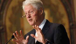 Former President Bill Clinton speaks at Georgetown University in Washington, Tuesday, April 21, 2015. (AP Photo/Jacquelyn Martin)