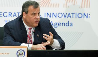 New Jersey Gov. Chris Christie speaks at the 45th Annual Washington Conference on the Americas, Tuesday, April 21, 2015, at the State Department in Washington. (AP Photo/Manuel Balce Ceneta) ** FILE **