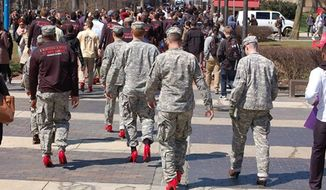 "ROTC cadets participate in a ""Walk a Mile in Her Shoes"" event held at Temple University on April 1, 2015. (Image: Temple University Army ROTC)"
