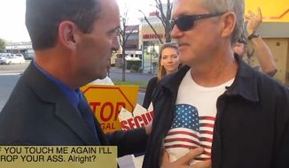 Rep. Stephen Knight was seen in a YouTube video posted over the weekend delivering a stern warning to an anti-amnesty protester who shook his hand and slapped him on the shoulder. (YouTube)