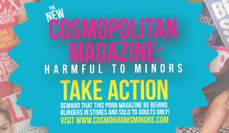 "A ""Cosmo Harms Minor"" campaign seeks to make the magazine adults-only. (Image courtesy of National Center on Sexual Exploitation)."