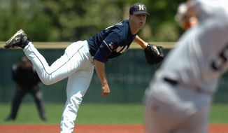 After being called up by the St. Louis Cardinals to join their bullpen for this week's series at Nationals Park, pitcher Mitch Harris is trying to become the first Naval Academy graduate to pitch in the Major Leagues since 1921. (Navy Athletics)