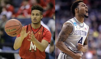 AT LEFT: Maryland's Melo Trimble catches a ball during practice for an NCAA college basketball tournament second round game Thursday, March 19, 2015, in Columbus, Ohio. Valparaiso plays Maryland on Friday. (AP Photo/Tony Dejak). AT RIGHT: Georgetown guard D'Vauntes Smith-Rivera reacts during the first half of an NCAA college basketball tournament round of 32 game against Utah in Portland, Ore., Saturday, March 21, 2015. (AP Photo/Craig Mitchelldyer)
