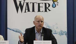 Gov. Jerry Brown responds to a reporters question concerning he meeting he held businesses affected by the drought at his Capitol office in Sacramento, Calif., Wednesday, April 16, 2015. Cities expected to slash water use in the drought are revolting against Brown's mandatory water restrictions, and dozens of agencies are telling water regulators that their assigned water use targets are unrealistic and unfair.  (AP Photo/Rich Pedroncelli)