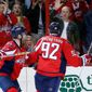 Capitals defenseman Karl Alzner celebrates center Evgeny Kuznetsov's first-period goal during a 5-1 victory over the New York Islanders in Game 5 Thursday. (Associated Press)
