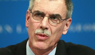Solicitor General Donald Verrilli speaks March 9, 2012, during a forum at the Georgetown University Law Center in Washington. (Associated Press) **FILE**