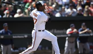 Baltimore Orioles Delmon Young follows through on a two run single against the Boston Red Sox in the fourth inning of a baseball game, Sunday, April 26, 2015, in Baltimore. (AP Photo/Gail Burton)