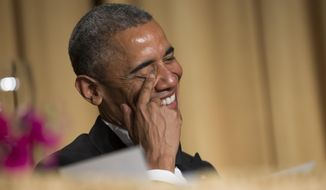 President Barack Obama laughs at a joke during the White House Correspondents' Association dinner at the Washington Hilton on Saturday, April 25, 2015, in Washington. (AP Photo/Evan Vucci)