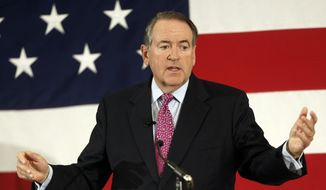 Former Arkansas Republican Gov. Mike Huckabee speaks at the Republican Leadership Summit in Nashua, N.H., in this April 18, 2015, file photo. (AP Photo/Jim Cole, File)
