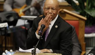 Rep. Elijah Cummings, D-Md., pauses as he addresses mourners at a funeral for Freddie Gray, Monday, April 27, 2015, at New Shiloh Baptist Church in Baltimore. Gray died from spinal injuries about a week after he was arrested and transported in a Baltimore Police Department van. (AP Photo/Patrick Semansky)