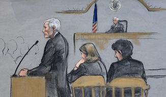 In this courtroom sketch, defense attorney David Bruck addresses the jury during the penalty phase in the trial of Dzhokhar Tsarnaev, seated at right, on Monday, April 27, 2015, in federal court in Boston.  (Jane Flavell Collins via AP) ** FILE **