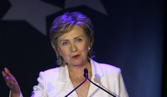 In this Oct. 28, 2006, file photo, then-Sen. Hillary Rodham Clinton, D-N.Y., speaks at a benefit gala for the Clinton Foundation at the American Museum of Natural History in New York. (AP Photo/Jason DeCrow, File)