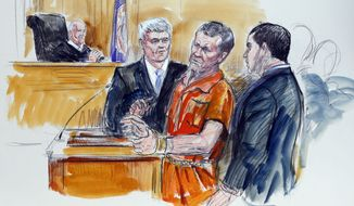 FILE -  In this Friday Nov. 7, 2014 file artist rendering, Irek Hamidullin, front center, his attorney Robert Wagner, front left, and interpreter Ihab Samra, front right, appear in federal court as judge Henry Hudson, left, listens in Richmond, Va.  Hamidullin was arraigned on a new 15-count indictment Tuesday, April 28, 2015, in U.S. District Court in Richmond. Hamidullin is charged with leading a Taliban attack against U.S. forces in Afghanistan. A five-day jury trial is scheduled to start July 27. (AP Photo/Dana Verkouteren, File)