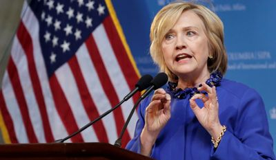 """It's time we end the era of mass incarceration,"" Hillary Rodham Clinton said in a speech at Columbia University in New York, which was the first major address of her White House run. (Associated Press)"