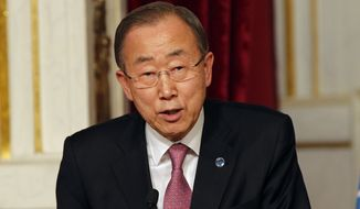 U.N. Secretary-General Ban Ki-moon delivers his speech during a press conference with French President Francois Hollande at the Elysee Palace in Paris, France, Wednesday, April 29, 2015. (AP Photo/Christophe Ena)