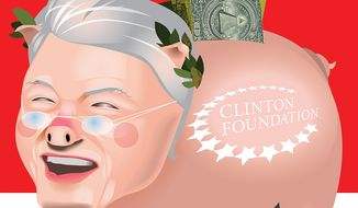 Illustration on Bill Clinton's monetary abuse of his status as former president by Linas Garsys/The Washington Times