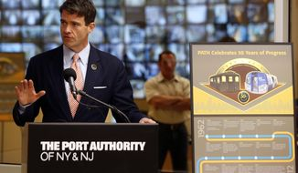 FILE - In this Tuesday, Aug. 28, 2012, file photograph, Bill Baroni, deputy executive director of The Port Authority of NY & NJ, talks about the new PATH Command Center, in Jersey City, N.J. David Wildstein, a former Christie ally, pleaded guilty Friday, May 1, 2015, to helping engineer traffic jams at the George Washington Bridge in 2013 and concocting a cover-up along with Bridget Kelly, who was Christie's deputy chief of staff, and Baroni, who was Christie's top appointee at the Port Authority. (AP Photo/Julio Cortez, File)