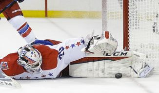 Washington Capitals goalie Braden Holtby (70) blocks a shot by the New York Rangers during the second period of Game 2 in the second round of the NHL Stanley Cup hockey playoffs Saturday, May 2, 2015, in New York. (AP Photo/Frank Franklin II)