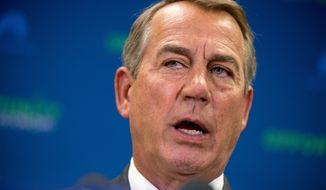 In this April 14, 2015, file photo, House Speaker John Boehner of Ohio speaks during a news conference on Capitol Hill in Washington. Boehner said Hillary Rodham Clinton needs to back trade legislation that President Barack Obama wants — and help get Democrats on board. (AP Photo/Andrew Harnik, File)