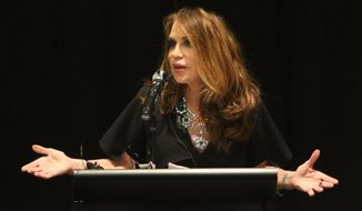 Pamela Geller, co-founder and president of Stop Islamization of America, is shown during the American Freedom Defense Initiative program at the Curtis Culwell Center on Sunday, May 3, 2015, in Garland, Texas. (Gregory Castillo/The Dallas Morning News via AP)