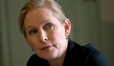 Sen. Kirsten Gillibrand, New York Democrat, said in a report that spouses of service members and civilian women who live or work near military facilities are especially vulnerable to sexual assault and wants them to be counted with military victims. (Associated Press)