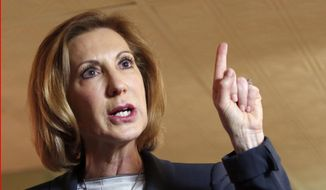Former Hewlett-Packard CEO Carly Fiorina speaks during a business luncheon at the Barley House with New Hampshire Republican lawmakers, in Concord, N.H., in this April 28, 2015, file photo. Former technology executive Carly Fiorina formally entered the 2016 presidential race on Monday, launching a Republican White House bid in a morning interview that highlighted her role as a leading critic of Democratic contender Hillary Rodham Clinton.  (AP Photo/Jim Cole)