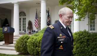 Outgoing Joint Chiefs Chairman Gen. Martin Dempsey leaves the Rose Garden of the White House in Washington, Tuesday, May 5, 2015, after President Barack Obama's announced he would nominate Marine Gen. Joseph Dunford as the next Joint Chiefs chairman, succeeding Dempsey. (Associated Press) ** FILE **