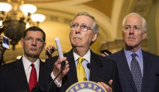 Senate Majority Leader Mitch McConnell of Ky., accompanied by Sen. John Barrasso, R-Wyo., left, and Senate Majority Whip John Cornyn of Texas., speaks during a news conference on Capitol Hill in Washington, Tuesday, May 5, 2015, following a policy luncheon.  (AP Photo/Brett Carlsen)