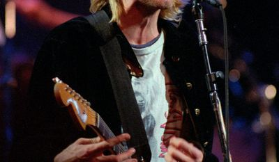 "Kurt Cobain, lead singer for the Seattle-based band Nirvana, had been ""treating live performance like a heinous production line chore for at least a year,"" said biographer Nick Soulsby. (Associated Press)"