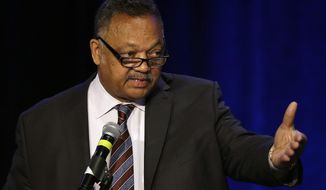 Rev. Jesse Jackson speaks at the PUSHTech2020 Summit Wednesday, May 6, 2015, in San Francisco. Jackson and his Rainbow Push organization are holding the summit as part of a year-old campaign to pressure tech companies into hiring and promoting more minorities and women. (AP Photo/Ben Margot)