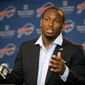 Buffalo Bills running back LeSean McCoy speaks to the media during a press conference in Orchard Park, N.Y., on March 10, 2015. (Associated Press) **FILE**