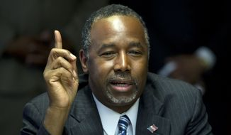 Republican presidential candidate Ben Carson speaks at a town hall meeting in Baltimore on May 7, 2015. (Associated Press) **FILE**