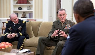 President Barack Obama meets with Gen. Joseph F. Dunford, Jr. and Gen. Martin Dempsey, Chairman of the Joint Chiefs of Staff, left, in the Oval Office, Sept. 30, 2014. (Official White House Photo by Pete Souza)
