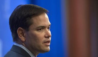 Sen. Marco Rubio, Florida Republican and presidential hopeful, speaks in Washington on April 15, 2015. (Associated Press)