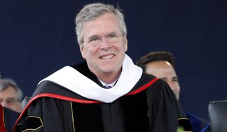 Former Florida Gov. Jeb Bush listens to his introduction before giving the commencement address at Liberty University in Williams Stadium at the school in Lynchburg, Va., Saturday, May 9, 2015. (AP Photo/Steve Helber)