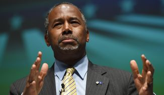 """Ben Carson, a retired pediatric neurosurgeon, set himself apart from the 2016 Republican field by boasting of his outsider status and """"real life"""" experience. (Associated Press) ** FILE **"""