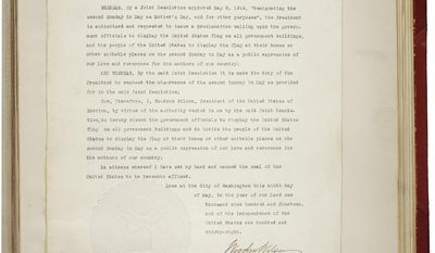 The entire Mother's Day proclamation from President Woodrow Wilson, May 9, 2014 (U.S. Archives)