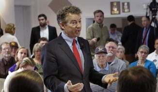 Republican presidential candidate, Sen. Rand Paul, R-Ky., speaks during a town hall meeting at the Lions Club hall with area residents, Monday, May 11, 2015, in Londonderry, N.H. (AP Photo/Jim Cole)