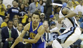 Golden State Warriors guard Stephen Curry (30) moves the ball as Memphis Grizzlies guard Mike Conley (11) defends in the first half of Game 4 of a second-round NBA basketball Western Conference playoff series Monday, May 11, 2015, in Memphis, Tenn. (AP Photo/Mark Humphrey)