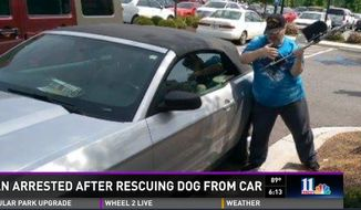 Army veteran Michael Hammons says he has no regrets after he was arrested this week for smashing a stranger's car window to give a trapped dog some fresh air. (WXIA)