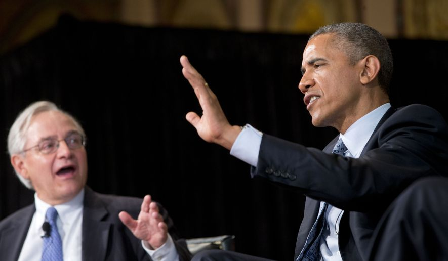 """President Barack Obama speaks at the Catholic-Evangelical Leadership Summit on Overcoming Poverty at Georgetown University in Washington, Tuesday, May 12, 2015. The president said that """"it's a mistake"""" to think efforts to stamp out poverty have failed and the government is powerless to address it. E.J. Dionne, Jr., Washington Post columnist and professor in Georgetown's McCourt School of Public Policy is at left.  (AP Photo/Pablo Martinez Monsivais)"""