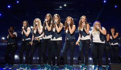 "Ester Dean (from left) as Cynthia Rose, Shelley Regner as Ashley, Kelley Alice Jakle as Jessica, Hailee Steinfeld as Emily, Anna Kendrick as Beca, Brittany Snow as Chloe, Alexis Knapp as Stacie, Rebel Wilson as Fat Amy, and Hana Mae Lee as Lilly, as the Barden Bellas in a scene from the film, ""Pitch Perfect 2."" (Associated Press)"