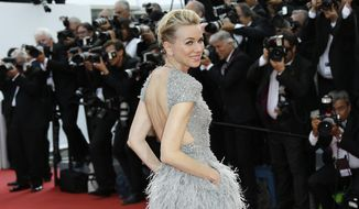 Naomi Watts arrives for the opening ceremony and the screening of the film La Tete Haute (Standing Tall) at the 68th international film festival, Cannes, southern France, Wednesday, May 13, 2015. (Photo by Joel Ryan/Invision/AP)
