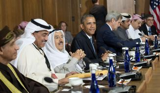 President Barack Obama sits with Kuwaiti Emir Sheikh Sabah Al-Ahmad Al-Sabah, Secretary of State John Kerry, center right, and Gulf Cooperation Council leaders and delegations at Camp David, Md., Thursday, May 14, 2015. Obama and leaders from six Gulf nations are trying to work through tensions sparked by the U.S. bid for a nuclear deal with Iran, a pursuit that has put regional partners on edge. Obama is seeking to reassure the Gulf leaders that the U.S. overtures to Iran will not come at the expense of commitments to their security. (AP Photo/Pablo Martinez Monsivais) **FILE**