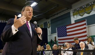 New Jersey Gov. Chris Christie speaks during a town hall meeting, Thursday, May 14, 2015, in Sparta, N.J. Christie has been holding frequent town halls in the early-voting state of New Hampshire as he prepares for an expected presidential campaign. (AP Photo/Julio Cortez)